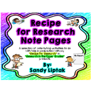 Note taking activity to use with Recipe for Research