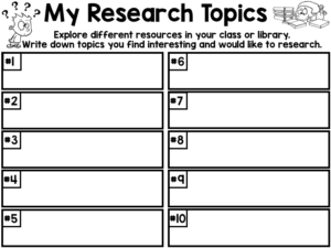 Research Topics Brainstorm Page for lower grades